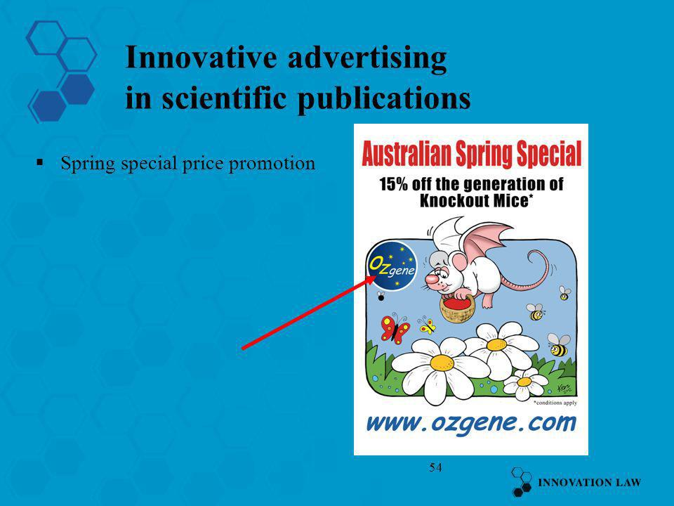 54 Innovative advertising in scientific publications Spring special price promotion