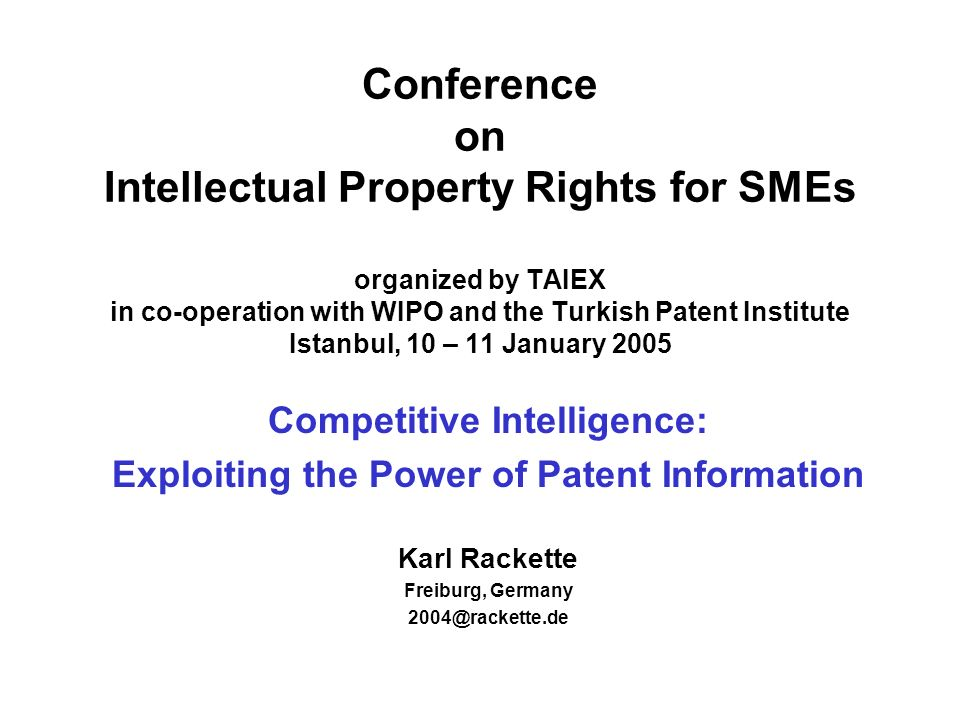 Competitive Intelligence: Exploiting the Power of Patent Information 12 Patents Patents reward disclosure rather than secrecy.
