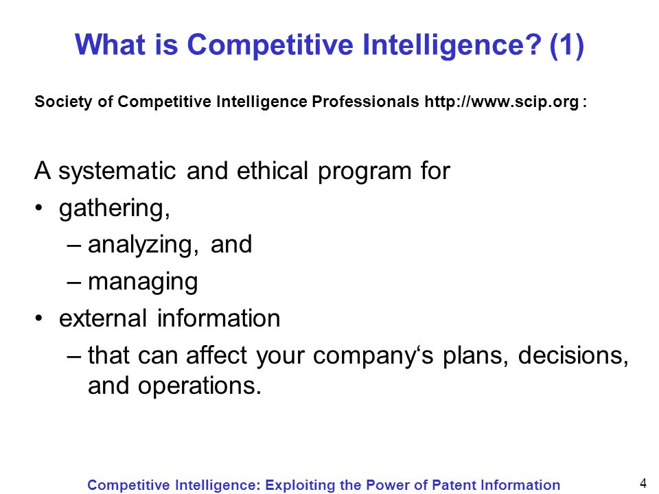 Competitive Intelligence: Exploiting the Power of Patent Information 55 Conducting Patent Searches by hiring a patent agent by searching online or the Internet by the Patent Office at time of application by visiting a library with patents through a parent company or another branch of the company through a business link or Chamber of Commerce by a specialist patent search service by other external information service by a trade or research association