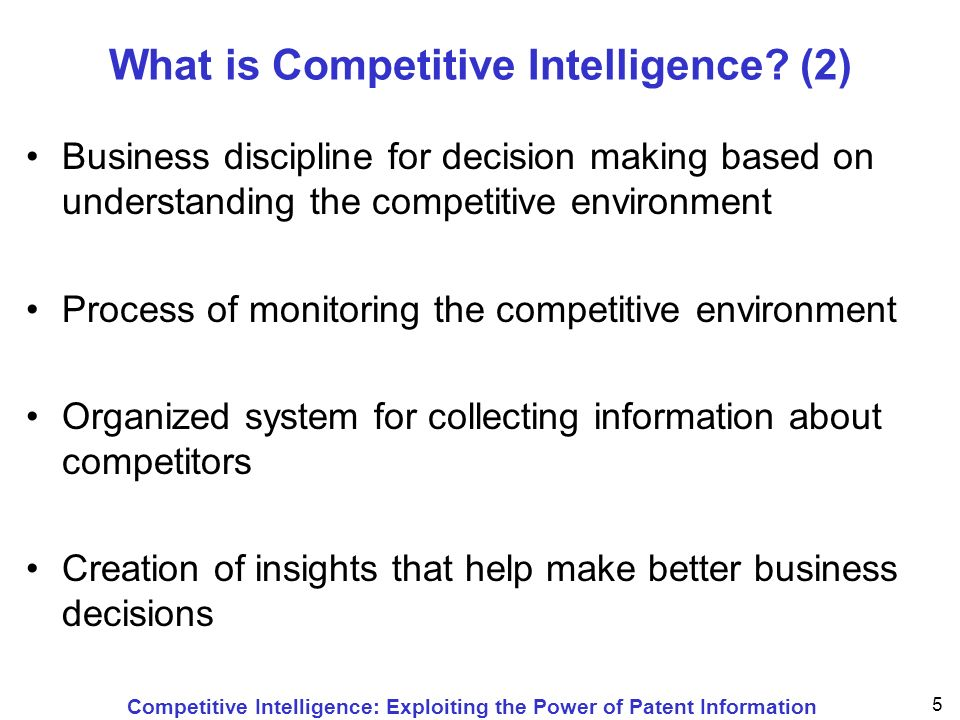Competitive Intelligence: Exploiting the Power of Patent Information 56 Simple Analysis Direct count and evaluation of the number of patent applications (and those for which patents were granted ) –of a country / granting authority –of a company (expiration dates) –of an inventor –of a particular IPC (key words) –of number of annuities paid since filing within one given large time frame or for a trend analysis within several smaller time frames to compare the results and to analyze the evolution