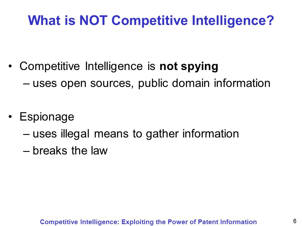 Competitive Intelligence: Exploiting the Power of Patent Information 17 Number of Patent Documents There are 40 million patent documents worldwide The 40 million patent documents describe approximately 13.5 million inventions On the average, for every invention a patent is applied for in three different countries