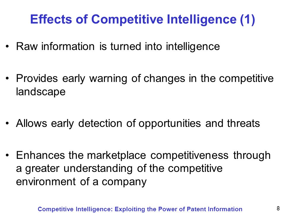 Competitive Intelligence: Exploiting the Power of Patent Information 59 Statistical Analysis of Patent Documents Concerning a Particular IPC Analyzing theallows to find applicants / proprietorsmarket leaders, competitors inventorsexperts in a field of technology IPC symbolsrelated technology priority data (dates / countries)evolution/origin of a technology country codes (national patents)importance of foreign markets designated EPC statesmajor regional markets designated PCT statesgeographic importance