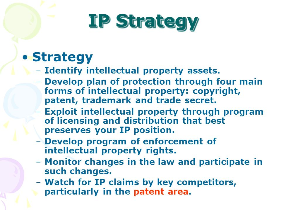 Strategy –Identify intellectual property assets.