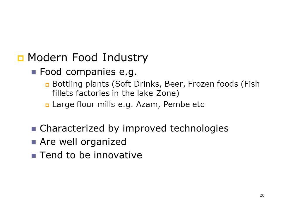 Modern Food Industry Food companies e.g.