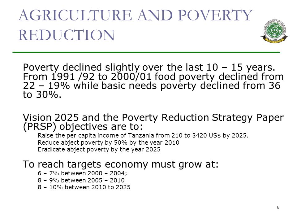 6 AGRICULTURE AND POVERTY REDUCTION Poverty declined slightly over the last 10 – 15 years.