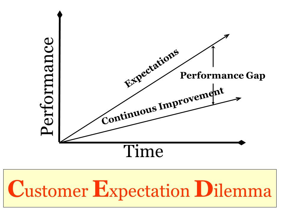 C ustomer E xpectation D ilemma Time Performance Expectations Continuous Improvement Performance Gap