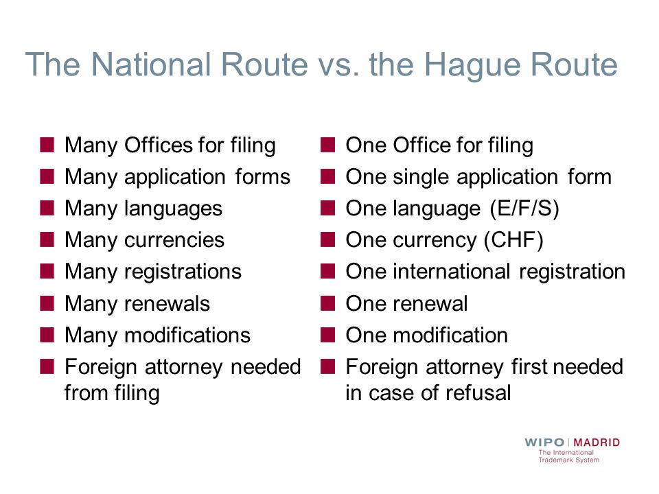 The National Route vs. the Hague Route Many Offices for filing Many application forms Many languages Many currencies Many registrations Many renewals