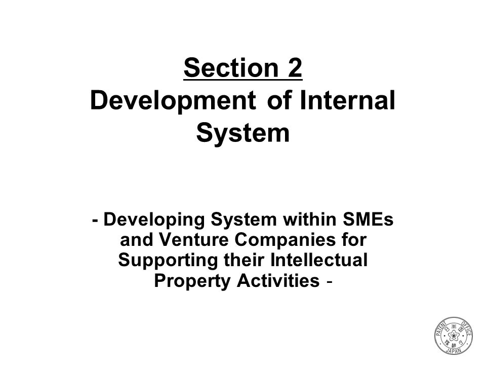 Section 2 Development of Internal System - Developing System within SMEs and Venture Companies for Supporting their Intellectual Property Activities -