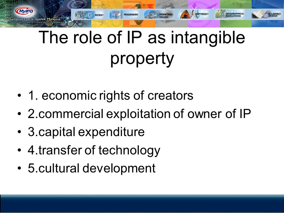 The role of IP as intangible property 1. economic rights of creators 2.commercial exploitation of owner of IP 3.capital expenditure 4.transfer of tech
