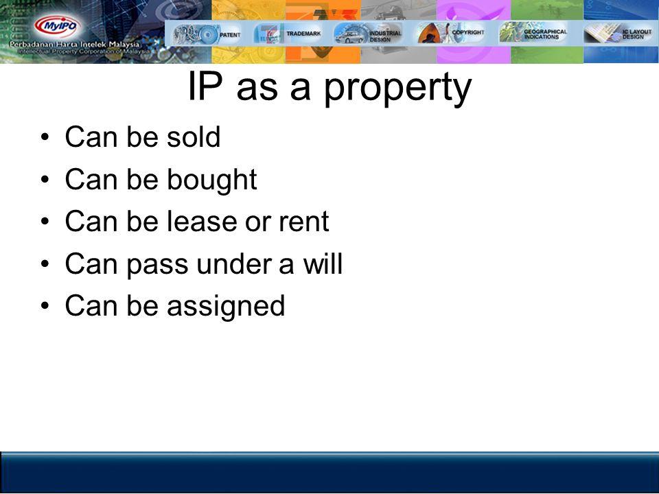 The Legal Framework for IP MyIPO is the legal custodian.