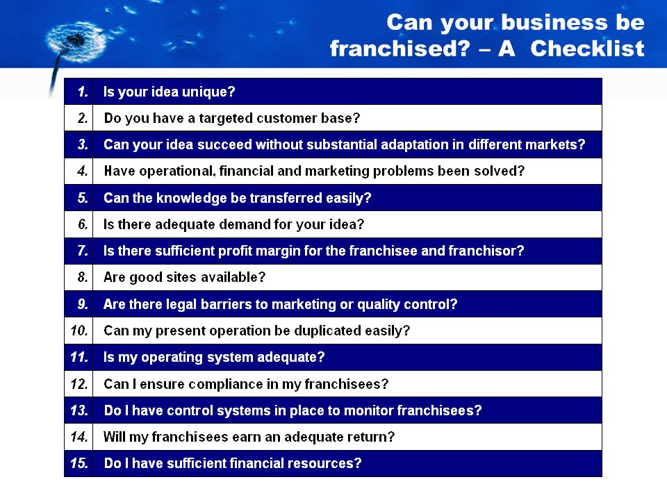 Can your business be franchised? 3.Return on Investment Are your gross margins high enough to offer a return on investment to both you as the franchis