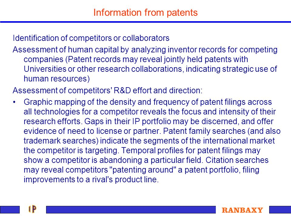 Information from patents Identification of competitors or collaborators Assessment of human capital by analyzing inventor records for competing compan