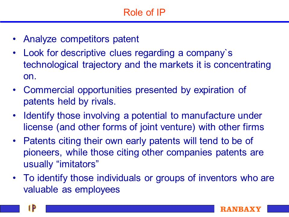 Analyze competitors patent Look for descriptive clues regarding a company`s technological trajectory and the markets it is concentrating on. Commercia