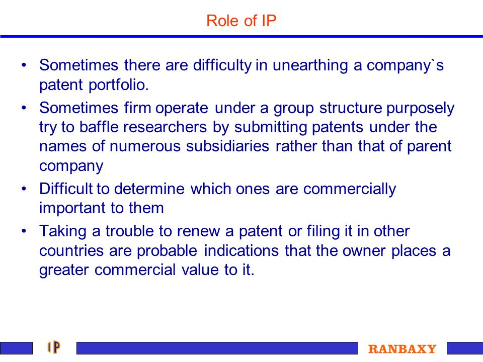 Sometimes there are difficulty in unearthing a company`s patent portfolio. Sometimes firm operate under a group structure purposely try to baffle rese