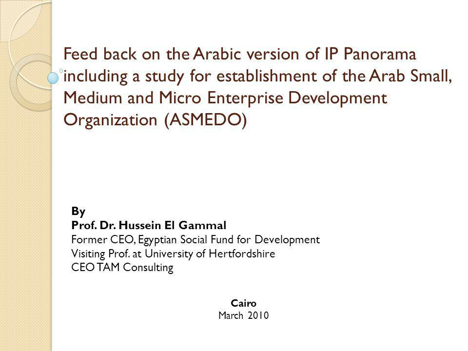 Feed back on the Arabic version of IP Panorama including a study for establishment of the Arab Small, Medium and Micro Enterprise Development Organization (ASMEDO) By Prof.
