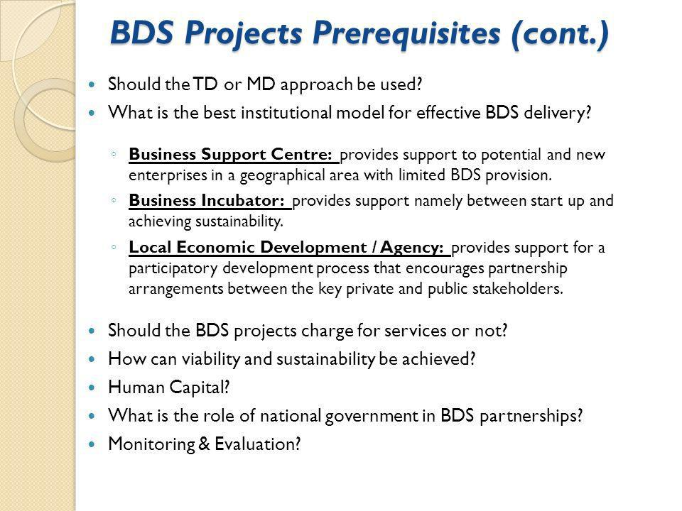 BDS Projects Prerequisites (cont.) Should the TD or MD approach be used.