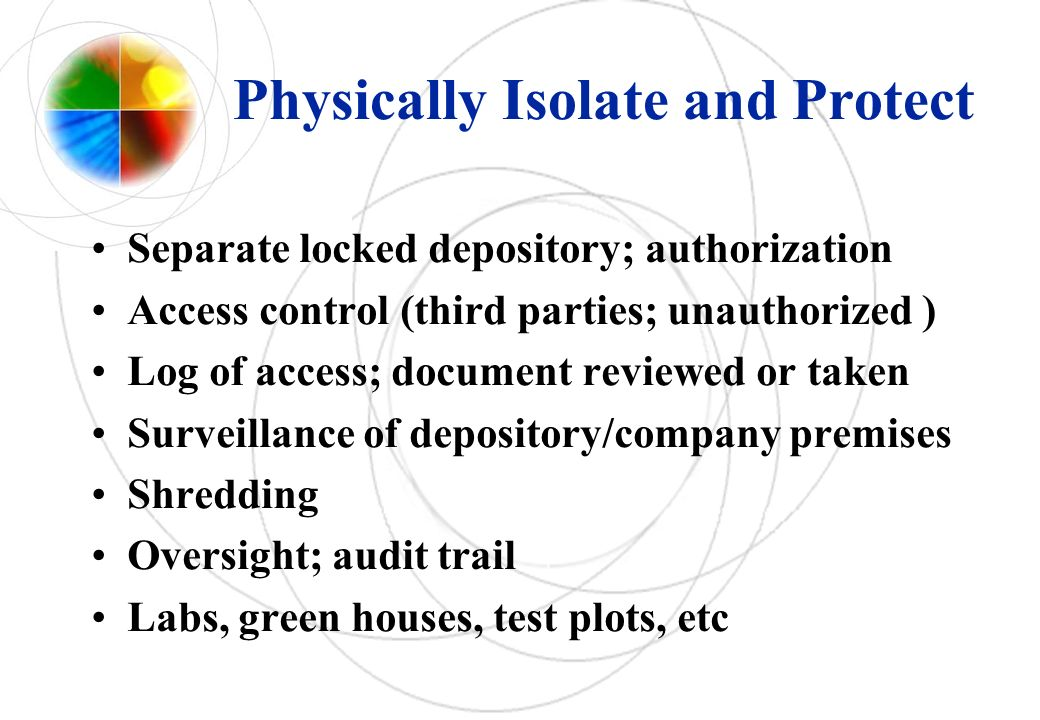 Physically Isolate and Protect Separate locked depository; authorization Access control (third parties; unauthorized ) Log of access; document reviewe