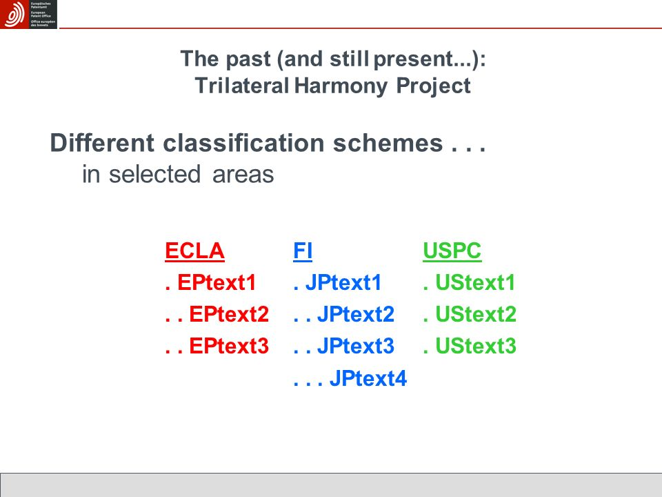 The past (and still present...): Trilateral Harmony Project Different classification schemes...