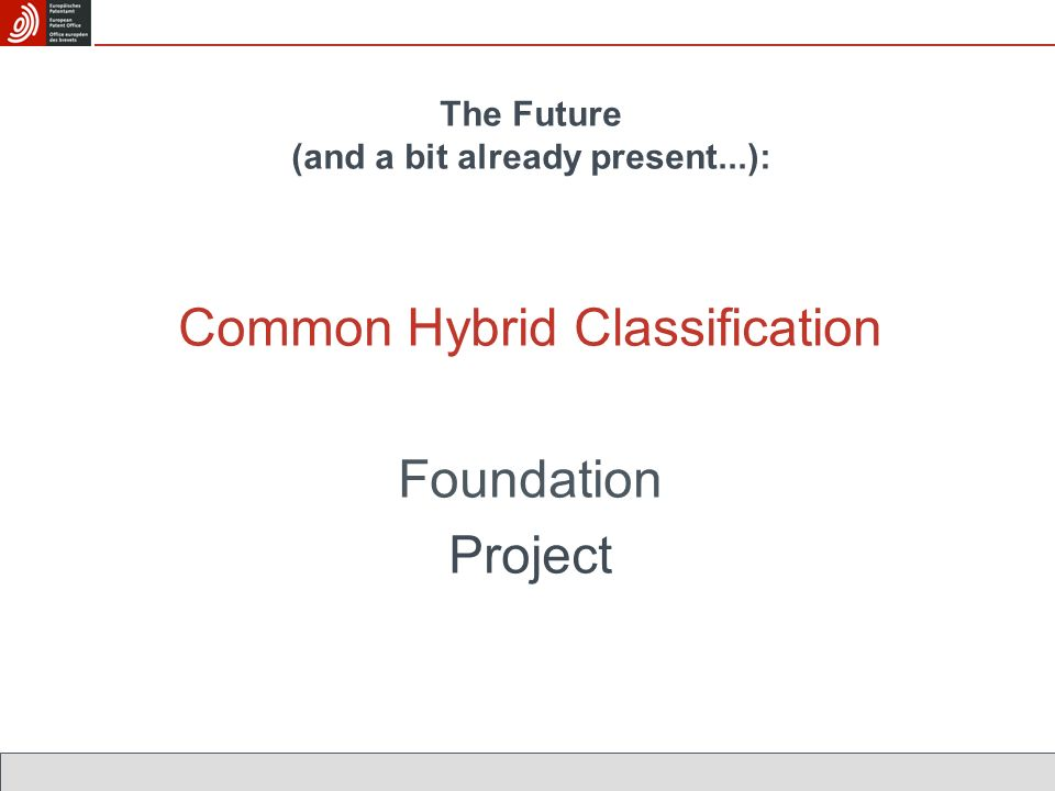 The Future (and a bit already present...): Common Hybrid Classification Foundation Project