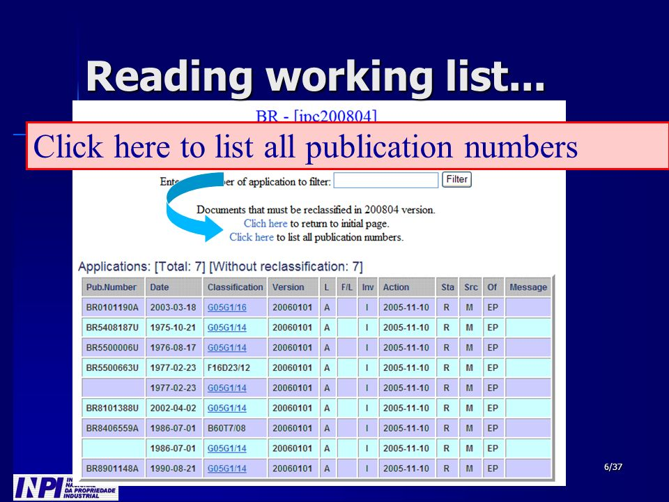 6/37 Reading working list... Click here to list all publication numbers