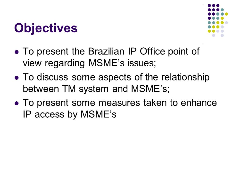 Objectives To present the Brazilian IP Office point of view regarding MSMEs issues; To discuss some aspects of the relationship between TM system and MSMEs; To present some measures taken to enhance IP access by MSMEs