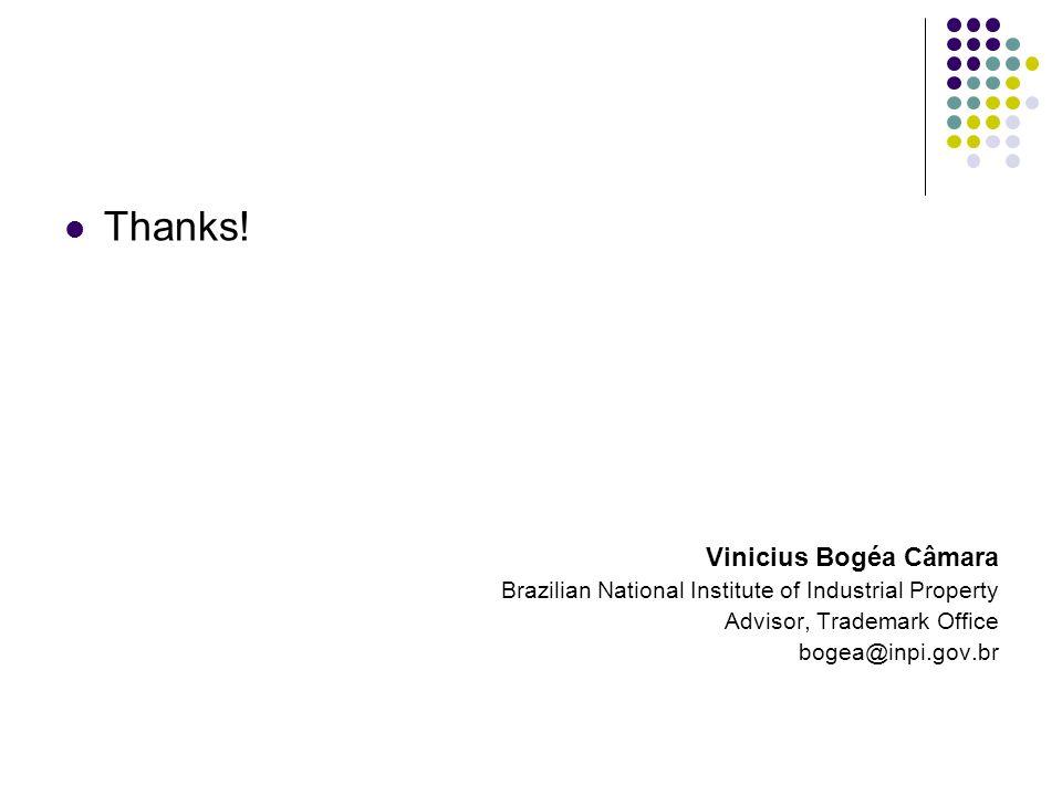 Thanks! Vinicius Bogéa Câmara Brazilian National Institute of Industrial Property Advisor, Trademark Office bogea@inpi.gov.br