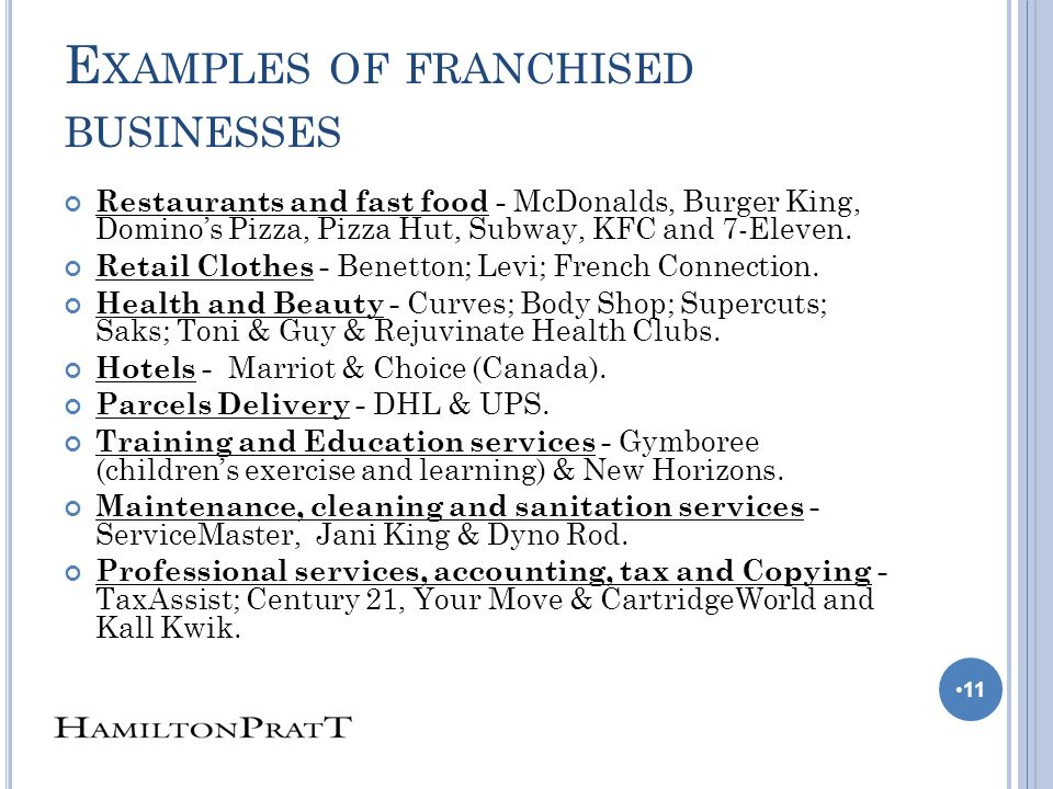 E XAMPLES OF FRANCHISED BUSINESSES Restaurants and fast food - McDonalds, Burger King, Dominos Pizza, Pizza Hut, Subway, KFC and 7-Eleven.