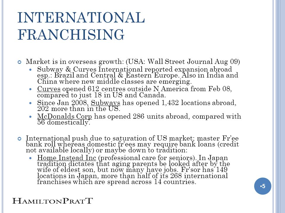 INTERNATIONAL FRANCHISING Market is in overseas growth: (USA: Wall Street Journal Aug 09) Subway & Curves International reported expansion abroad esp.: Brazil and Central & Eastern Europe.