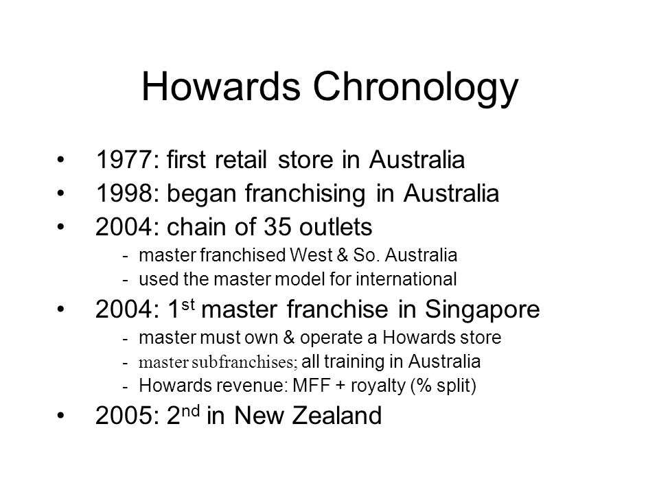 Howards Chronology 1977: first retail store in Australia 1998: began franchising in Australia 2004: chain of 35 outlets -master franchised West & So.