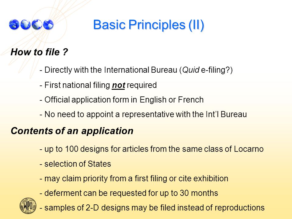 Basic Principles (II) How to file .