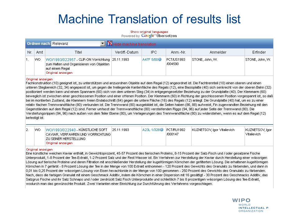 Machine Translation of results list