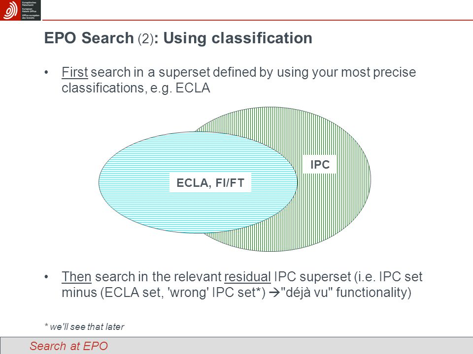 EPO Search (2) : Using classification First search in a superset defined by using your most precise classifications, e.g.