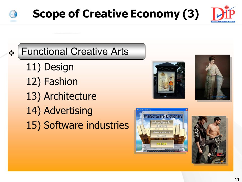 11 Functional Creation Arts 11) Design 12) Fashion 13) Architecture 14) Advertising 15) Software industries Functional Creative Arts Scope of Creative Economy (3)