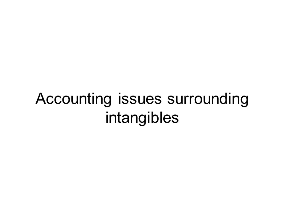 Accounting issues surrounding intangibles