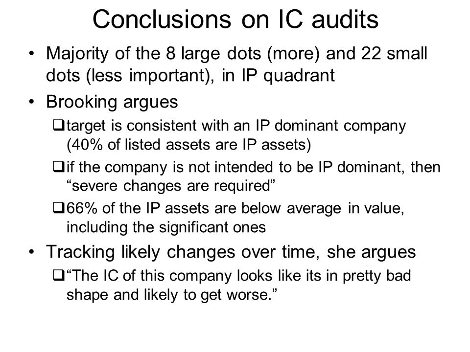 Conclusions on IC audits Majority of the 8 large dots (more) and 22 small dots (less important), in IP quadrant Brooking argues target is consistent w