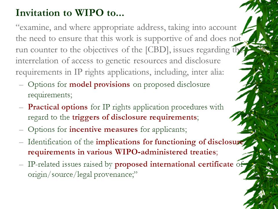 Invitation to WIPO to...