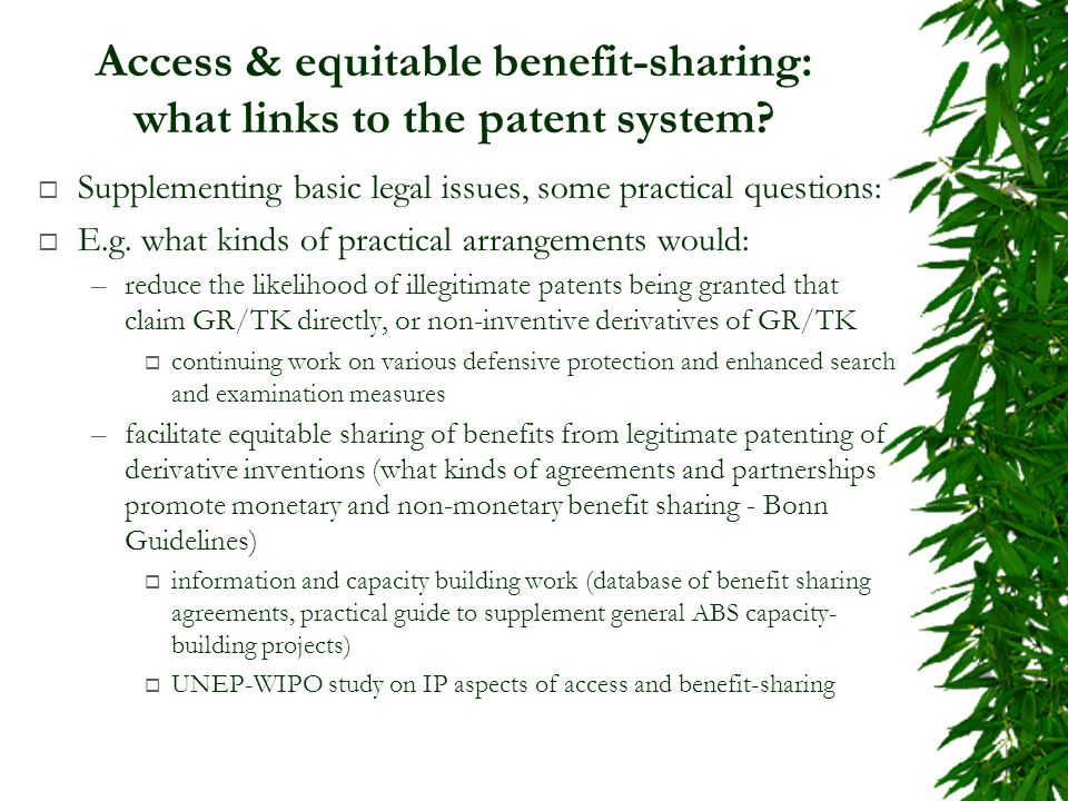 Access & equitable benefit-sharing: what links to the patent system.
