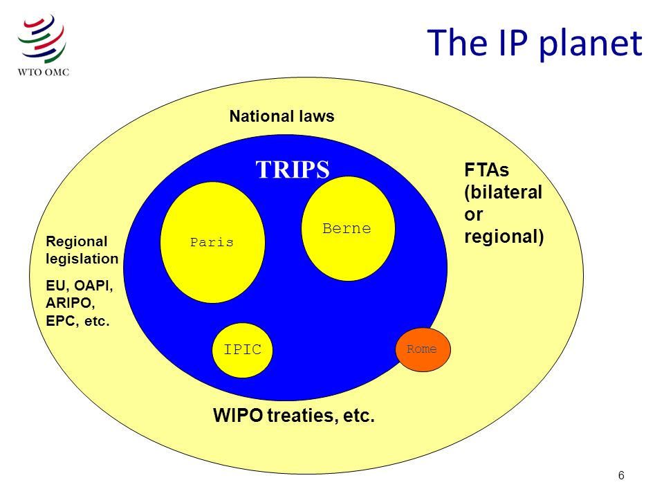 6 The IP planet Paris IPIC Rome Paris Berne IPIC Rome FTAs (bilateral or regional) TRIPS WIPO treaties, etc.