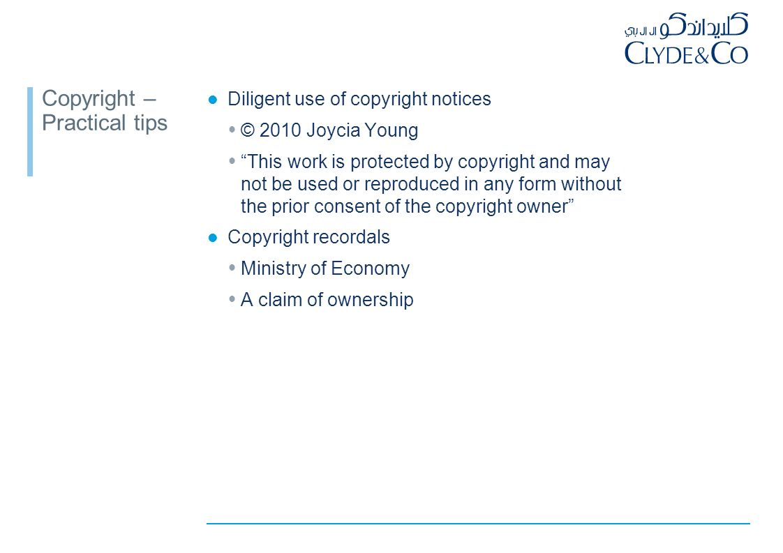 Ownership of copyright Nuances of regional law author is owner of work no automatic ownership by employer -no statutory provision -no assignment of copyright in (5 or more or all) future works assignment must comply with law -in writing -specify subject of work … Retrospective assignments necessary to transfer ownership from employees / agencies (after work created)