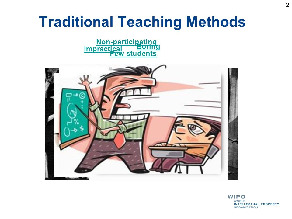 2 Traditional Teaching Methods 2 Few students Impractical Boring Non-participating