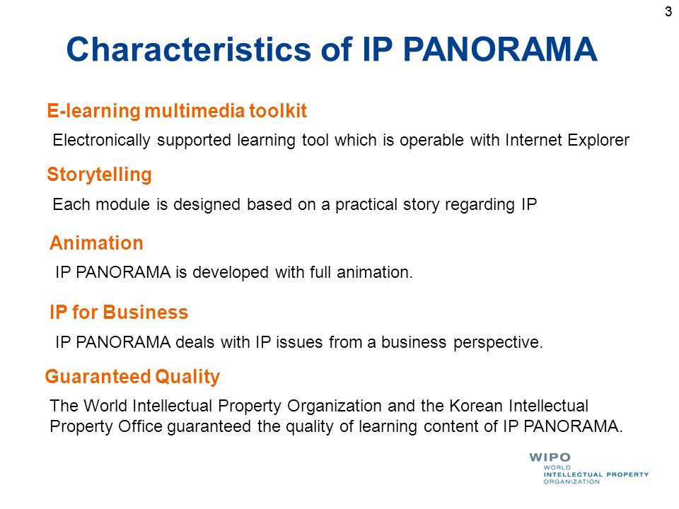 33 Characteristics of IP PANORAMA Storytelling Each module is designed based on a practical story regarding IP Animation IP PANORAMA is developed with full animation.