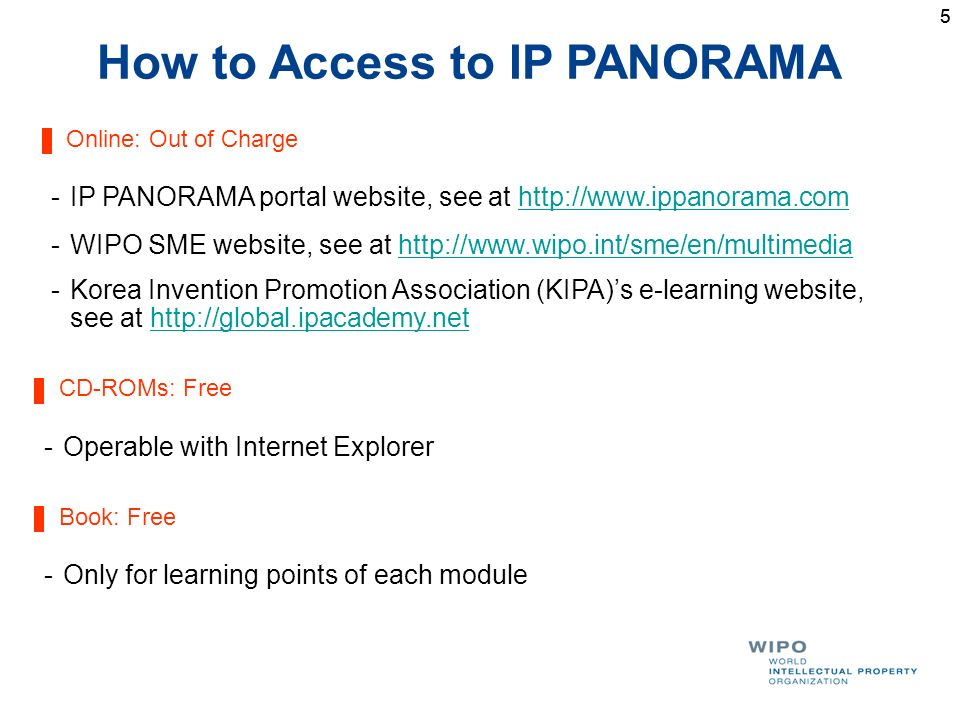 55 How to Access to IP PANORAMA Online: Out of Charge -IP PANORAMA portal website, see at http://www.ippanorama.comhttp://www.ippanorama.com -WIPO SME website, see at http://www.wipo.int/sme/en/multimediahttp://www.wipo.int/sme/en/multimedia -Korea Invention Promotion Association (KIPA)s e-learning website, see at http://global.ipacademy.nethttp://global.ipacademy.net CD-ROMs: Free -Operable with Internet Explorer Book: Free -Only for learning points of each module