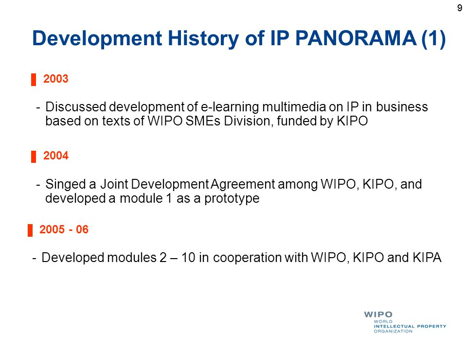 99 Development History of IP PANORAMA (1) 2003 -Discussed development of e-learning multimedia on IP in business based on texts of WIPO SMEs Division,