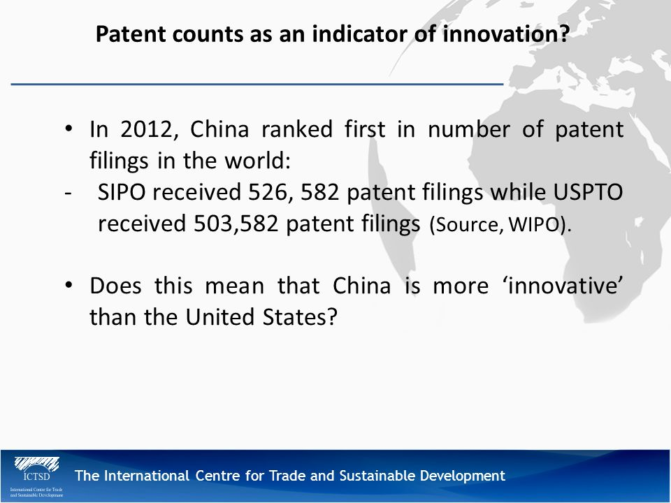 The International Centre for Trade and Sustainable Development Patent counts as an indicator of innovation.