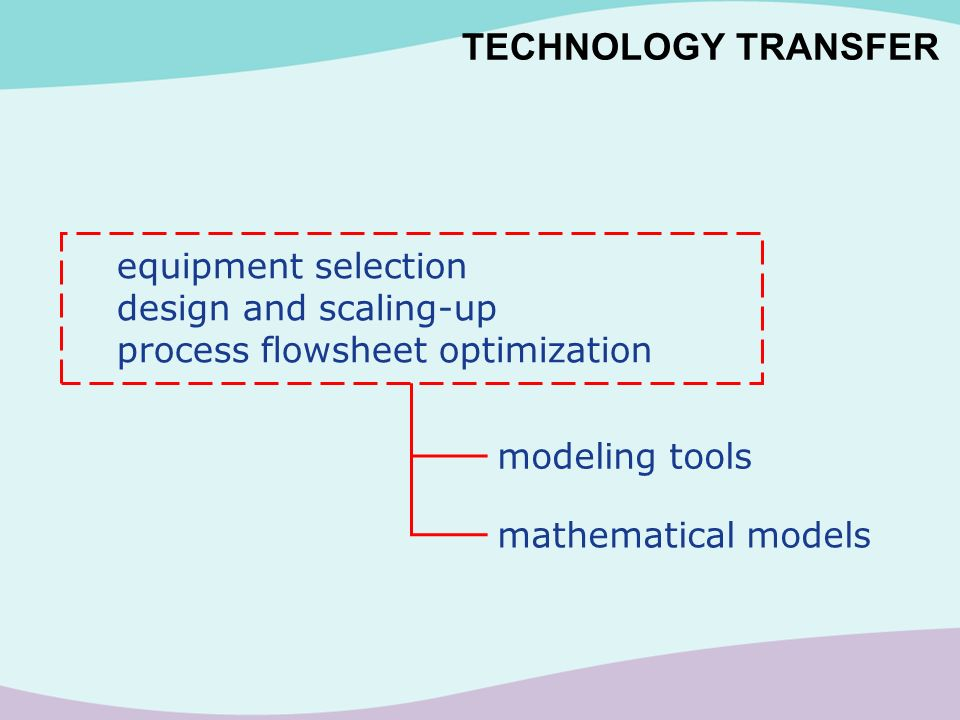 TECHNOLOGY TRANSFER equipment selection design and scaling-up process flowsheet optimization mathematical models modeling tools