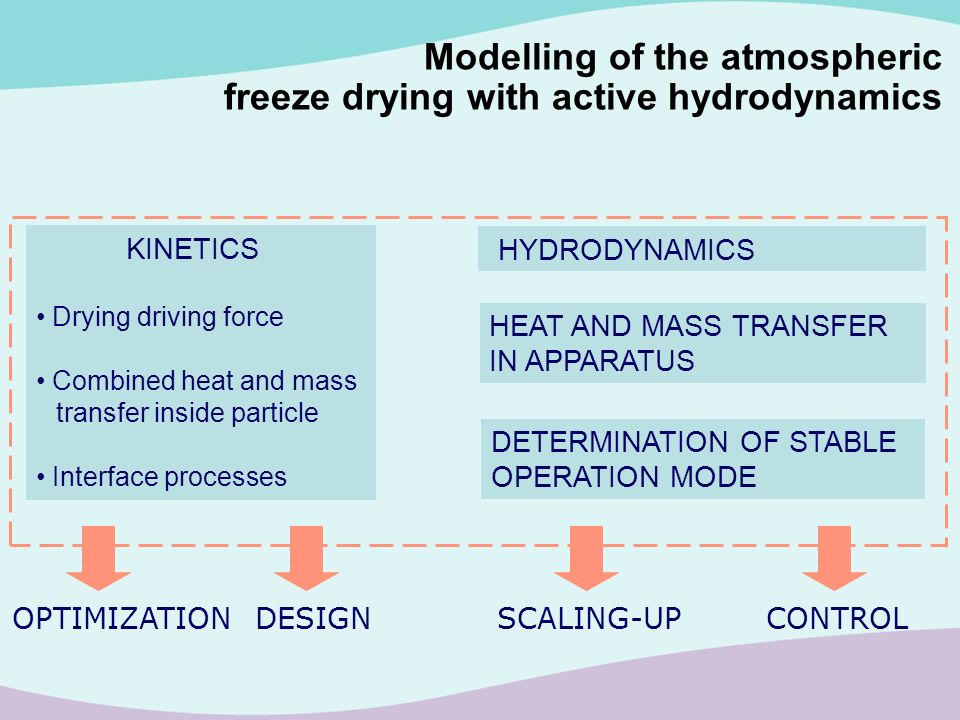 KINETICS Drying driving force Combined heat and mass transfer inside particle Interface processes HYDRODYNAMICS HEAT AND MASS TRANSFER IN APPARATUS DE