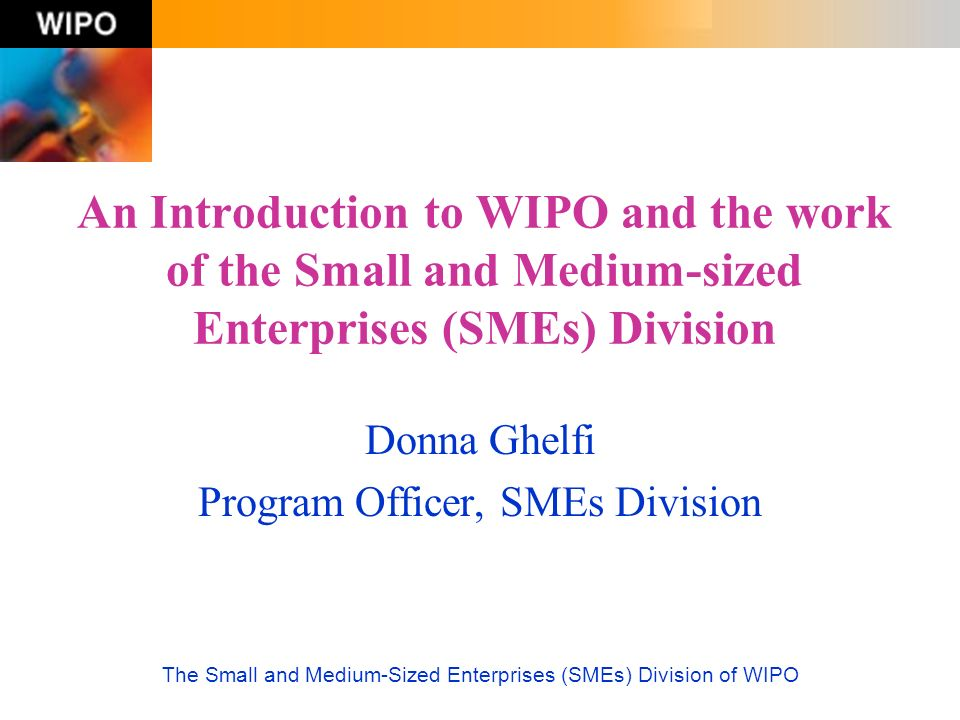 The Small and Medium-Sized Enterprises (SMEs) Division of WIPO Intellectual Property Rights: An Exchange Protection of the economic and moral rights of innovators and creators Public access to the fruits of innovation and creativity