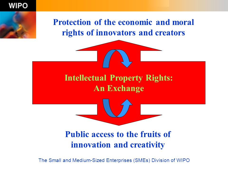 The Small and Medium-Sized Enterprises (SMEs) Division of WIPO Intellectual Property Tools Time Limited Territorial Exclusive Industrial Property - patents - trademarks - industrial designs - geographical indications Copyright & Related Rights - literary, artistic, musical works - actors, music distributors, etc.
