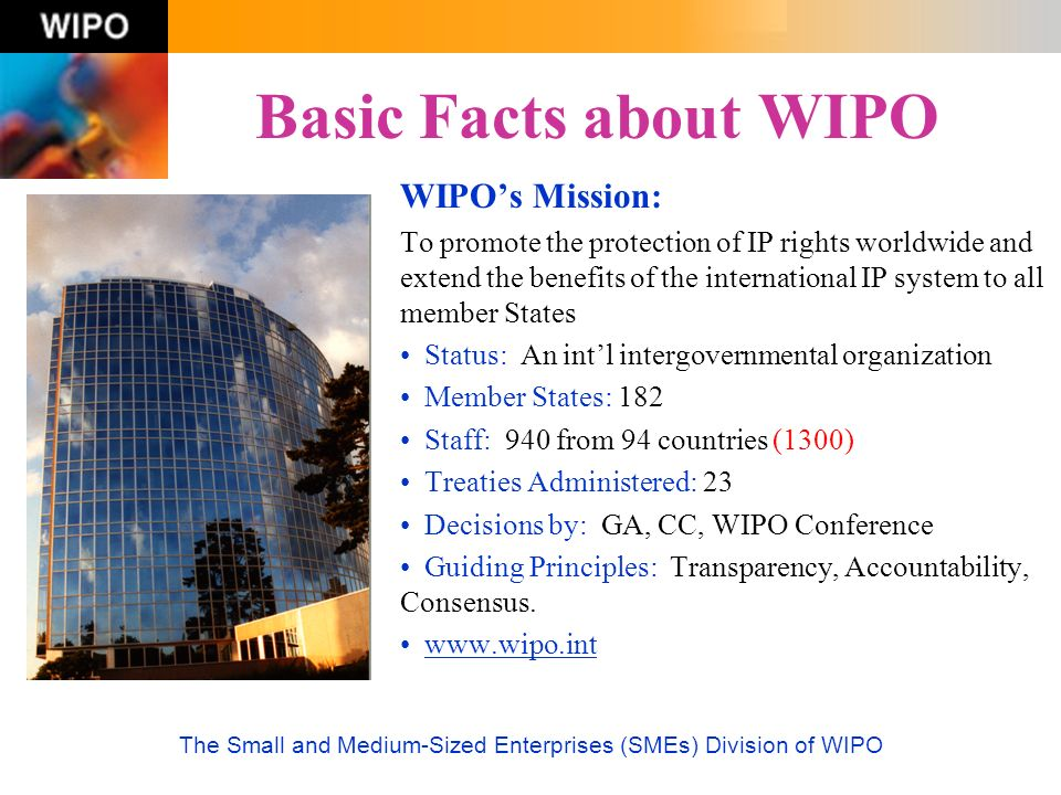 The Small and Medium-Sized Enterprises (SMEs) Division of WIPO Basic Facts about WIPO WIPOs Mission: To promote the protection of IP rights worldwide