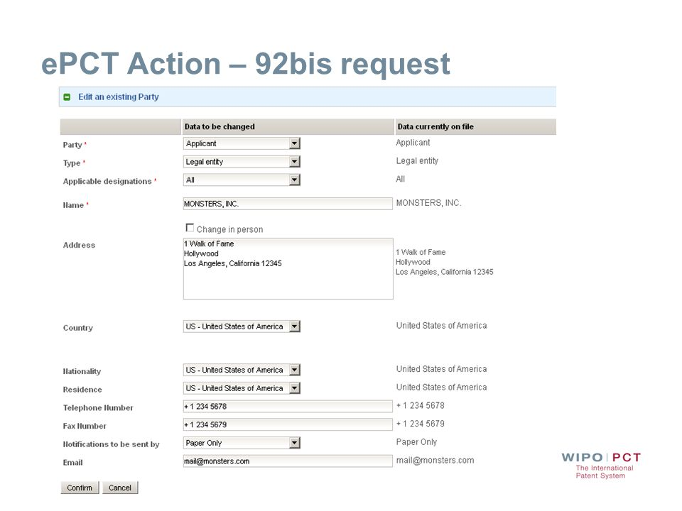 ePCT Action – 92bis request